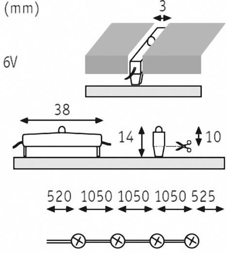 LED-voegenlamp Uitbreidingsset 0.08 W Warm-wit
