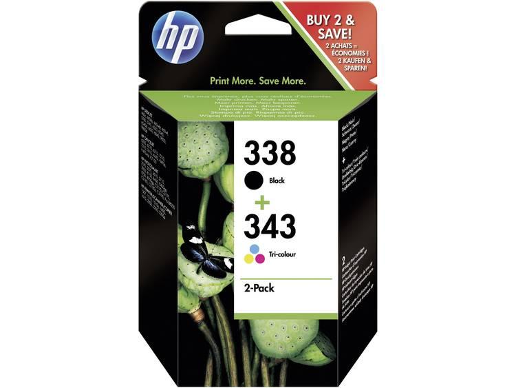 HP Inkt 338, 343 Origineel Combipack Zwart, Cyaan, Magenta, Geel SD449EE