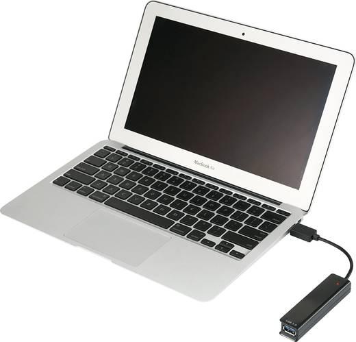 4 poorten USB 3.0-, USB 2.0-combi-hub Zwart