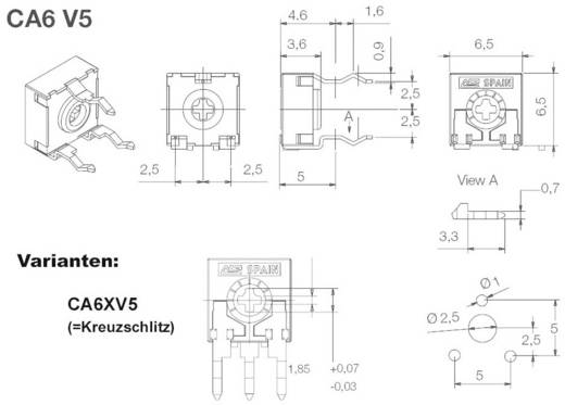 ACP CA6XV5-100KA2020SNP Koolfilmtrimmer Lineair 0.1 W 100 kΩ 215 ° 235 ° 1000 stuks
