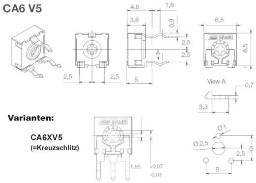 ACP CA6XV5-1MA2020SNP Koolfilmtrimmer Lineair 0.1 W 1 MΩ 215 ° 235 ° 1000 stuks