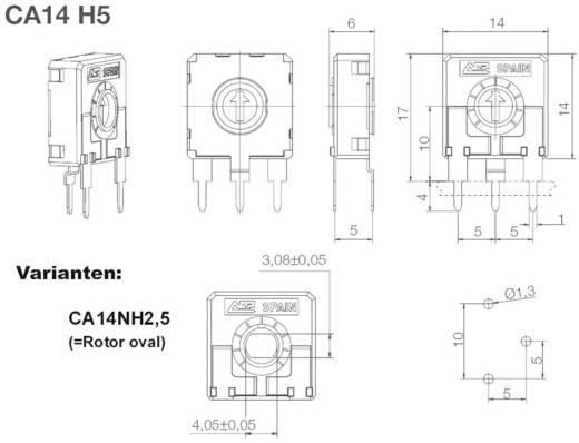 ACP CA14NH5-10KA2020 Koolfilmtrimmer Lineair 0.25 W 10 kΩ 245 ° 265 ° 200 stuks
