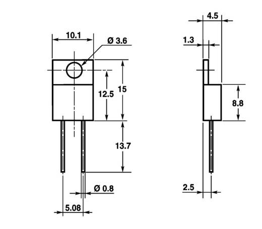 Vishay RTO 50 F Vermogensweerstand 33 Ω Axiaal bedraad TO 220 50 W 1 stuks