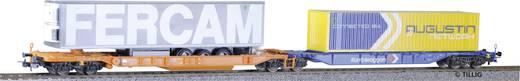 Tillig H0 501228 H0 dubbele containerwagon combi-wagon van de DB AG FERCAM/Augustin