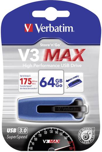 Verbatim V3 Max 64 GB USB-stick Blauw USB 3.0