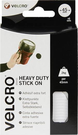VELCRO® brand VEL-EC60249 Klittenband punten om vast te plakken Haak- en lusdeel, Extra sterk (Ø) 45 mm Wit 6 paar