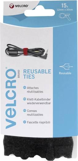 VELCRO® brand VEL-EC60466 Klittenband kabelbinders om te bundelen Haak- en lusdeel (l x b) 200 mm x 12 mm Zwart 15 stuks