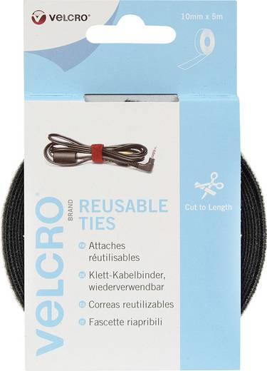 VELCRO® brand VEL-EC60253 Klittenband kabelbinders om te bundelen Haak- en lusdeel (l x b) 5000 mm x 10 mm Zwart 1 rolle