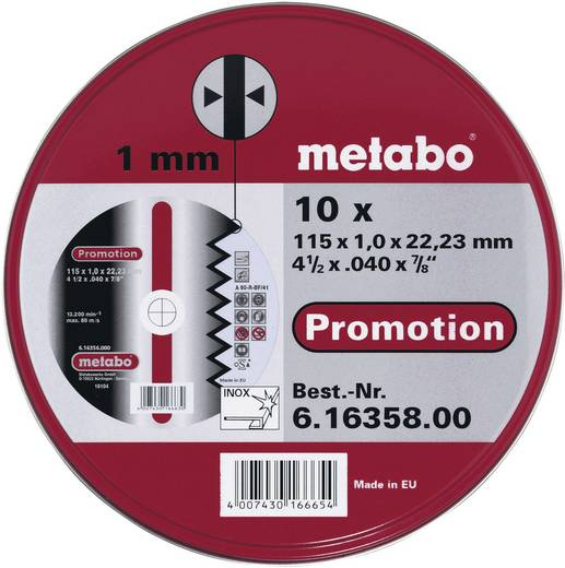 Metabo 616358000 10x doorslijpschijven Promotion 115x1,0x22,23
