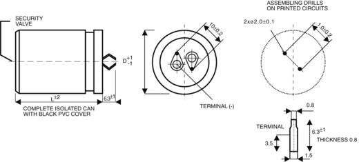 Elektrolytische condensator Snap-in 10 mm 22000 µF 25 V/DC 20 % (Ø x h) 35 mm x 50 mm 1 stuks