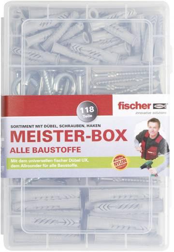 Fischer 513894 Meister-Box met UX-R-pluggen, schroeven, ronde en haakse haken 118 onderdelen