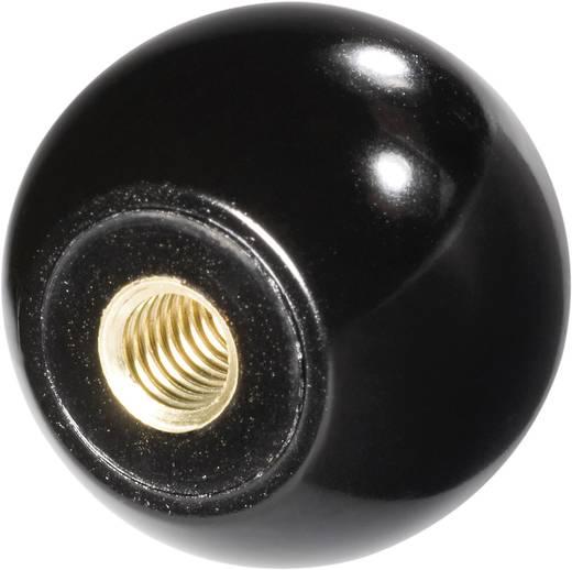 TOOLCRAFT Kogelknoppen M6 DIN 319 Kunststof zwart, Draadbus: messing 25 stuks
