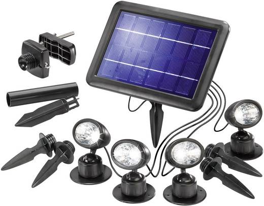 Solarspot LED 1 W Koud-wit Esotec Quattro Power 102142 Zwart