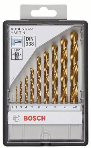 Bosch 2607010536 HSS Metaal-spiraalboorset 10-delig TiN DIN 338 Cilinderschacht 1 set