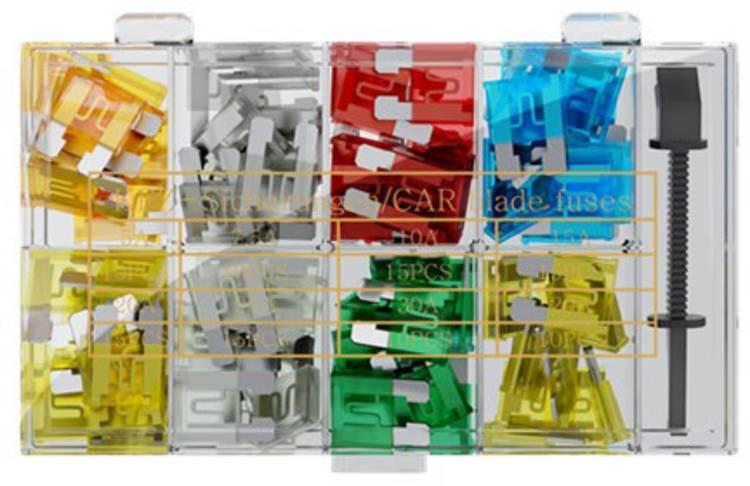 Image of Standaard platte zekering 5 A, 7.5 A, 10 A, 15 A, 20 A, 25 A, 30 A Blauw, Rood, Wit, Geel, Groen, Lichtbruin, Bruin FixPoint 1025-2 20342 100 stuks