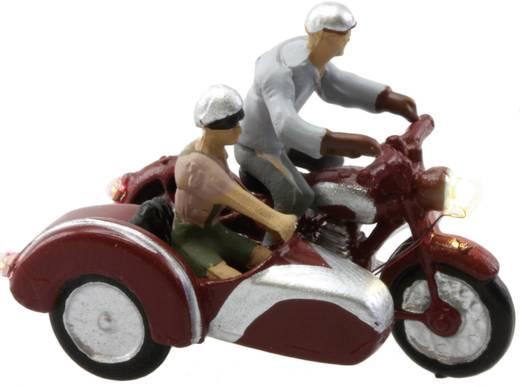 H0 motorfiets met zijspan, met verlichting