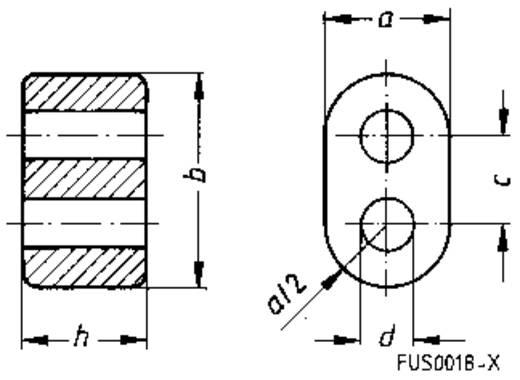 Ferrietkern, ring Dubbele opening Kabel-Ø (max.) 3.4 mm (l x b x h) 14.5 x 8.5 x 14.5 mm Epcos DOPPELLOCHKERN, 8.5X14.5