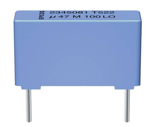 Epcos METALLISIERTER POLYESTER-KOND., 2,2UF MKT-foliecondensator Radiaal bedraad 2.2 µF 100 V/AC 10 % 15 mm (l x b x h)