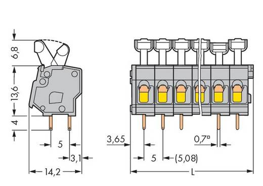 Veerkachtklemblok 2.50 mm² Aantal polen 10 MOD PC STRIP-10 POS ANG LEV WAGO Grijs 80 stuks
