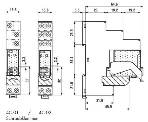 Finder 4C.02.8.024.0060 Relaismodule 1 stuks Nominale spanning: 24 V/AC Schakelstroom (max.): 8 A 2x wisselaar