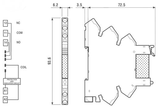 Finder 38.61.7.012.0050 Relaismodule 1 stuks Nominale spanning: 12 V/DC Schakelstroom (max.): 6 A 1x wisselaar