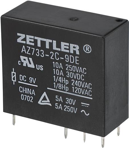 Zettler Electronics AZ733-2C-9DE Printrelais 9 V/DC 10 A 2x wisselaar 1 stuks