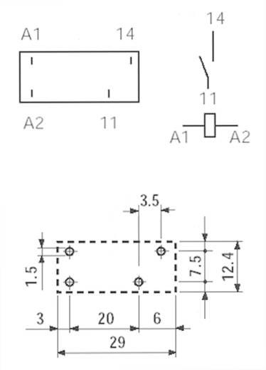 Finder 40.31.7.012.1320 Printrelais 12 V/DC 12 A 1x NO 1 stuks