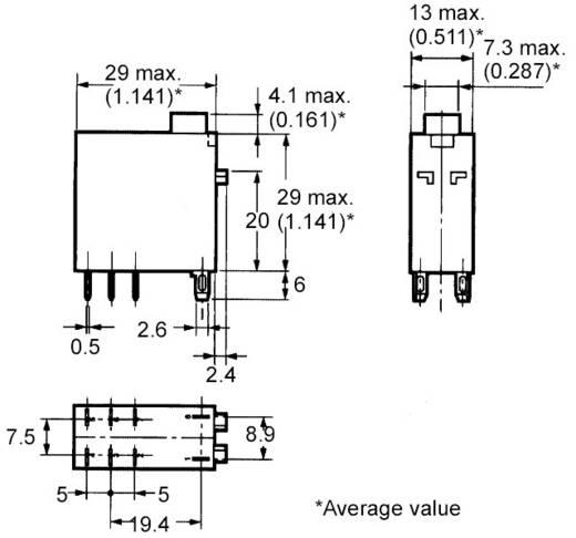 Omron Steekrelais 12 V/DC 5 A 2x wisselaar 1 stuks