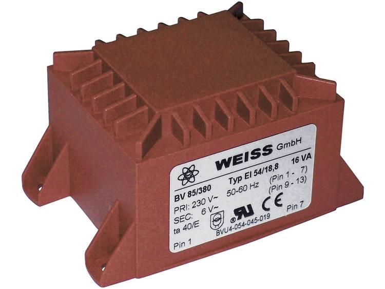 Printtransformator 1 x 230 V 1 x 6 V AC 16 VA 2667 mA 85 380 Weiss Elektrotechni
