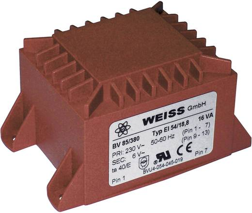 Printtransformator 1 x 230 V 2 x 12 V/AC 16 VA 667 mA 85/388 Weiss Elektrotechnik