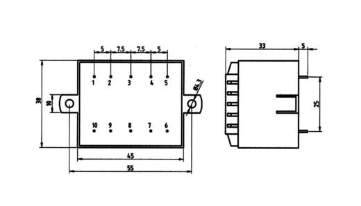 Printtransformator 5,0 VA Primair: Secundair: 5,0 VA 85/362 Weiss Elektrotechnik