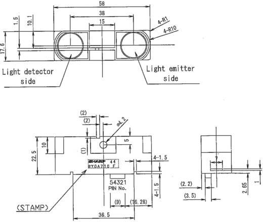 Afstandssensor Sharp GP2Y0A710K0F 5 V/DC Bereik max. (in het vrije veld): 550 cm 1 stuks