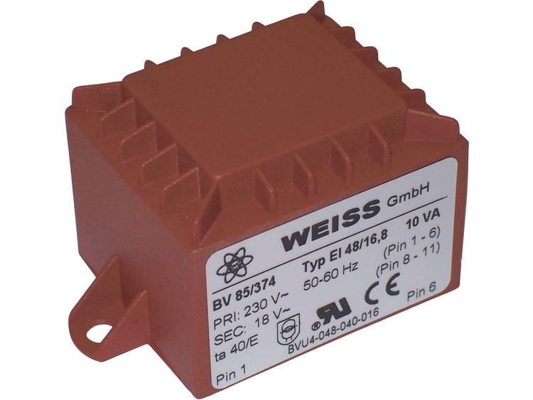 Printtransformator 1 x 230 V 1 x 18 V AC 10 VA 556 mA 85 374 Weiss Elektrotechni