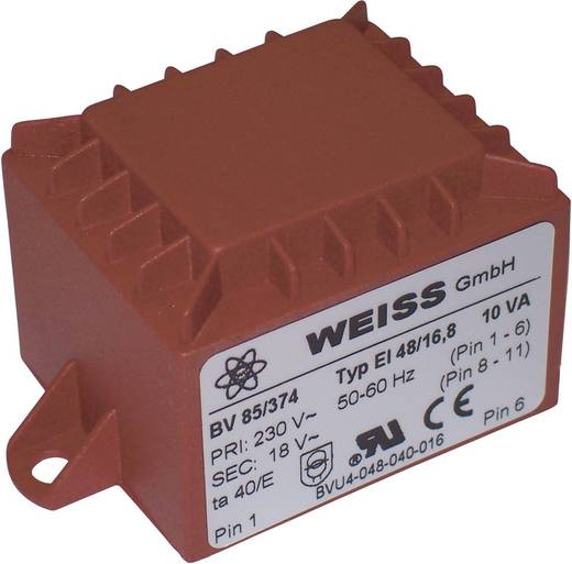 Printtransformator 10 VA Primair: Secundair: 10 VA 85/371 Weiss Elektrotechnik