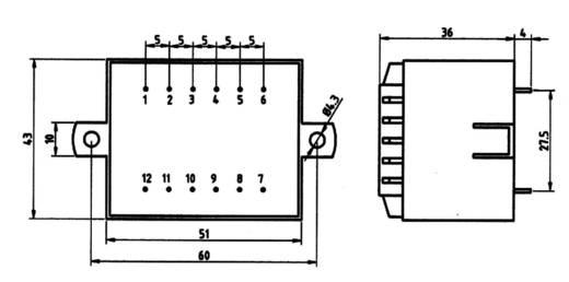Printtransformator 1 x 230 V 2 x 6 V/AC 10 VA