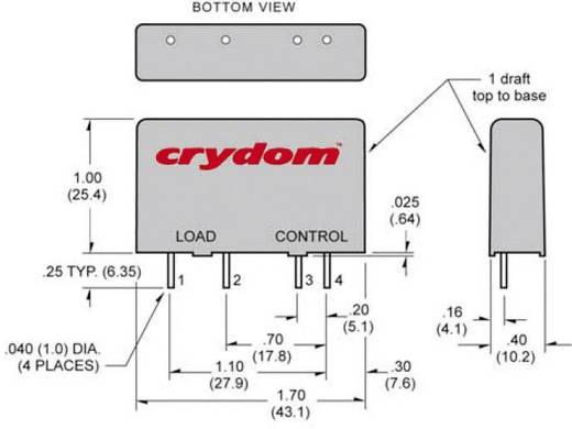 Crydom MP240D4 Halfgeleiderrelais 1 stuks Laadstroom (max.): 4 A Schakelspanning (max.): 280 V/AC Schakelend bij overbel
