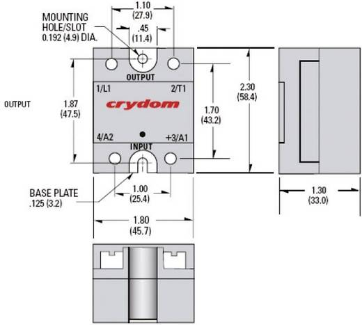 Crydom CWD4825 Halfgeleiderrelais 1 stuks Laadstroom (max.): 25 A Schakelspanning (max.): 660 V/AC Schakelend bij overbe