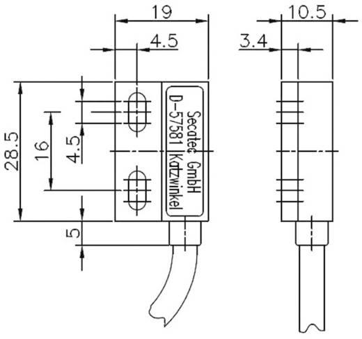 Secatec MKF19XUAK Reedcontact 1x wisselaar 30 V/DC, 30 V/AC 0.2 A 3 VA