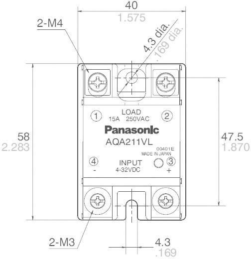 Panasonic AQA411VL Halfgeleiderrelais 1 stuks Laadstroom (max.): 25 A Schakelspanning (max.): 250 V/AC Schakelend bij ov
