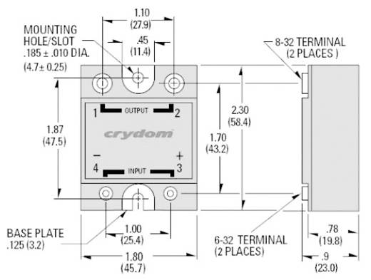 Crydom HD48125 Halfgeleiderrelais 1 stuks Laadstroom (max.): 125 A Schakelspanning (max.): 530 V/AC Schakelend bij overbelasting