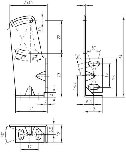Leuze Electronic BT 3B Bevestigingssysteem Uitvoering (algemeen) Bevestigingsbeugel voor de serie 3B (b x h) 21 mm x 54