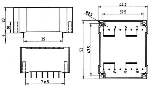 Platte transformator 6 VA Primair: Secundair: 6 VA 83/235 Weiss Elektrotechnik