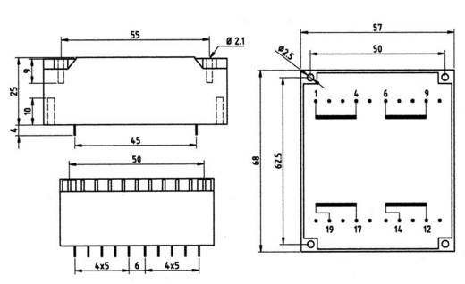 Printtransformator 1 x 230 V 2 x 9 V/AC 14 VA 778 mA 83/264 Weiss Elektrotechnik