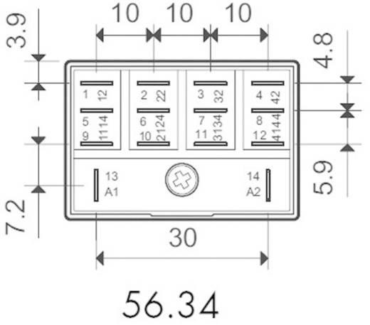Finder 56.34.9.012.0040 Steekrelais 12 V/DC 12 A 4x wisselaar 1 stuks