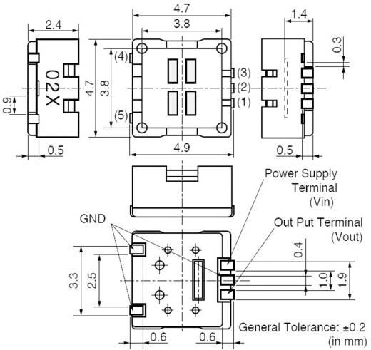 Murata IRS-B340ST02-R1 PIR-sensor SMD 1 stuks 2 - 15 V/DC (l x b x h) 4.7 x 4.7 x 2.4 mm