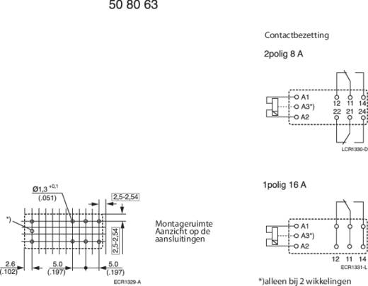 TE Connectivity RT314F12 Printrelais 12 V/DC 16 A 1x wisselaar 1 stuks