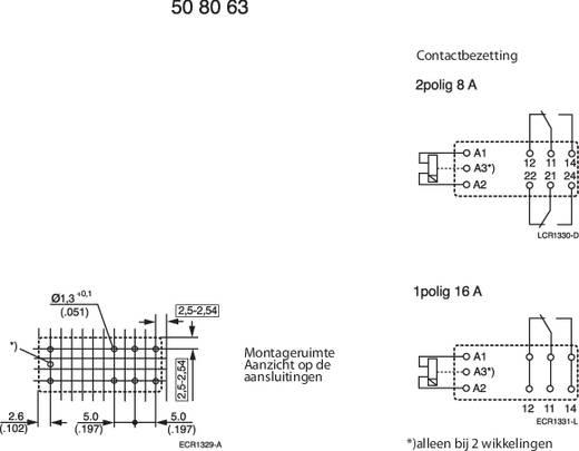TE Connectivity RT424F12 Printrelais 12 V/DC 8 A 2x wisselaar 1 stuks