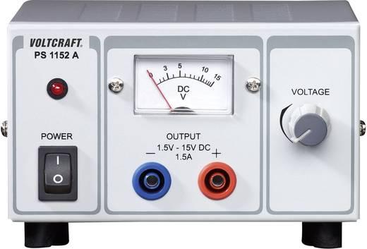 VOLTCRAFT PS-1152 A Labvoeding, regelbaar 1.5 - 15 V/DC 1.5 - 1 A 22.5 W Aantal uitgangen 1 x