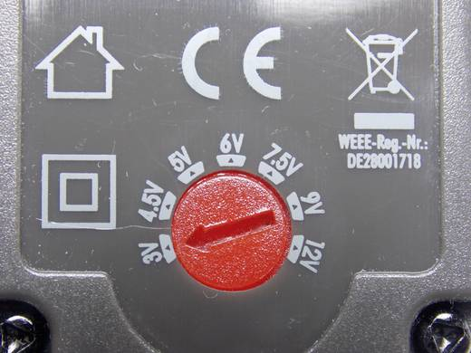 VOLTCRAFT USPS-1500 Stekkernetvoeding, instelbaar 3 V/DC, 4.5 V/DC, 5 V/DC, 6 V/DC, 7.5 V/DC, 9 V/DC, 12 V/DC 1500 mA 18 W