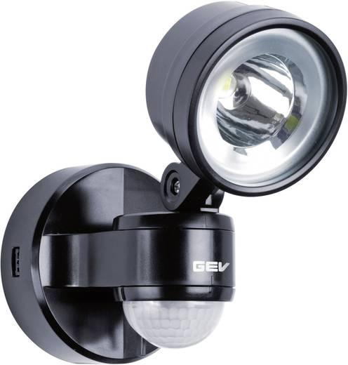 LED-buitenschijnwerper met bewegingsmelder 4 W Neutraal wit GEV LLL 14701 014701 Zwart